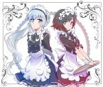 2girls apron black_hair blue_eyes commentary_request frills highres iesupa maid maid_apron maid_dress maid_headdress multiple_girls ponytail redhead ruby_rose rwby scar scar_across_eye short_hair silver_hair tray waitress weiss_schnee white_hair