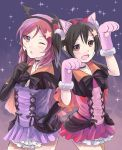 2girls animal_ears bangs black_hair bow bowtie capelet collarbone costume dress elbow_gloves finger_to_mouth gloves headband looking_at_viewer love_live! love_live!_school_idol_project medium_hair multiple_girls nishikino_maki open_mouth red_eyes redhead sgen shushing skirt smile star starry_background thighs yazawa_nico