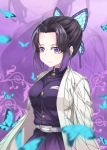 1girl absurdres animal bangs belt belt_buckle black_hair blurry blurry_foreground breasts buckle bug butterfly butterfly_hair_ornament closed_mouth commentary_request depth_of_field eyebrows_visible_through_hair forehead gradient_hair hair_ornament highres insect jacket kimetsu_no_yaiba kochou_shinobu looking_at_viewer medium_breasts multicolored_hair open_clothes parted_bangs pleated_skirt purple_background purple_hair purple_jacket purple_skirt skirt smile solo violet_eyes white_belt zongren zoom_layer