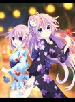 2girls absurdres adult_neptune ahoge animal_print blush breasts choker fish fish_print floral_print goldfish highres holding ileheart japanese_clothes kimono long_hair looking_at_viewer mask medium_breasts multiple_girls neptune_(neptune_series) neptune_(series) open_mouth print_kimono purple_hair ramu-on@_shinon sash shin_jigen_game_neptune_vii short_hair small_breasts smile very_long_hair violet_eyes white_background white_choker yukata