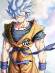 1boy aqua_background arms_at_sides blue_background blue_eyes blue_hair blurry bokeh clenched_hands clothes_lift depth_of_field dougi dragon_ball dragon_ball_super dragon_ball_z floating_hair gradient gradient_background grey_background highres light_smile looking_at_viewer male_focus mattari_illust muscle pectorals pink_background shaded_face simple_background smile son_gokuu spiky_hair standing super_saiyan_blue upper_body white_background wind wind_lift wristband
