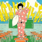 1girl bangs barefoot black_eyes black_hair blunt_bangs clouds cloudy_sky commentary_request cotoh_tsumi desk full_body highres holding holding_pillow long_sleeves looking_at_viewer original pajamas pillow pink_pajamas polka_dot polka_dot_pajamas short_hair sky solo standing translation_request