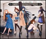 5girls akiyama_mio album_cover bag beige_coat black_border black_footwear black_gloves black_hair black_legwear black_shirt black_shorts blonde_hair blue_dress blue_hairband boots border brown_footwear brown_hair brown_legwear case coat commentary cover dress elbow_gloves english_commentary english_text gloves hair_ornament hairband hairpin high_heels high_ponytail highres hirasawa_yui instrument_case k-on! kotobuki_tsumugi long_hair multiple_girls nakano_azusa necktie no_socks open_clothes open_coat orange_neckwear pantyhose pink_shirt shirt short_hair shorts squatting standing striped striped_legwear tainaka_ritsu thick_eyebrows thigh-highs yuzuriha