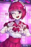 1girl android bar bow bowtie city cityscape copyright_name cyberpunk dorothy_haze hairband hand_gesture heart heart_hands highres mr.lime one_eye_closed out_of_frame pink_eyes pink_hair solo va-11_hall-a window