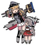 2girls anchor_hair_ornament bangs black_legwear blonde_hair blush breasts chibi closed_eyes gloves hair_ornament hat kantai_collection kneehighs light_brown_hair long_hair long_sleeves low_twintails mikura_(kantai_collection) military military_uniform multiple_girls open_mouth peaked_cap pleated_skirt prinz_eugen_(kantai_collection) puffy_short_sleeves puffy_sleeves red_skirt rigging sailor_collar sailor_hat school_uniform serafuku short_sleeves simple_background skirt standing terrajin twintails uniform white_background white_gloves white_skirt
