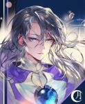 1boy artist_request cardcaptor_sakura character_name face feathers grey_eyes highres lips long_hair looking_at_viewer male_focus silver_hair solo upper_body yue_(ccs)