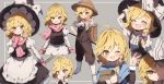alternate_costume apron ascot black_headwear black_skirt black_vest blonde_hair boots bow braid broom closed_eyes cup gloves grey_background hair_bow hat hat_bow holding holding_broom holding_cup juliet_sleeves kirisame_marisa long_hair long_sleeves one_eye_closed open_mouth overalls pink_gloves pink_scarf piyokichi pointing puffy_sleeves purple_bow scarf shirt short_sleeves skirt smile sweatdrop touhou vest white_bow white_footwear white_neckwear white_shirt witch_hat wrist_cuffs yellow_eyes