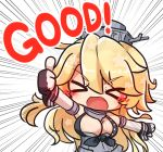 >_< 1girl asimo953 bangs blonde_hair blush breasts chibi closed_eyes eyebrows_visible_through_hair fingerless_gloves front-tie_top gloves headgear iowa_(kantai_collection) kantai_collection large_breasts long_hair looking_at_viewer open_mouth simple_background smile solo thumbs_up white_background