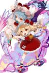 2girls :d arm_up ascot bat_wings blonde_hair blue_flower blue_hair blue_rose bobby_socks bow commentary crystal dress flandre_scarlet flower gotoh510 hat hat_bow heart heart_of_string highres mary_janes mob_cap multiple_girls one_side_up open_mouth petticoat pink_dress pink_headwear pointing pointy_ears puffy_short_sleeves puffy_sleeves red_bow red_eyes red_footwear red_neckwear red_skirt red_vest remilia_scarlet rose shoes short_hair short_sleeves siblings sisters skirt skirt_set smile socks standing star symbol_commentary touhou vest white_background white_headwear white_legwear wings wrist_cuffs yellow_neckwear