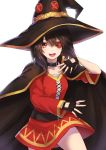 1girl belt black_gloves breasts brown_hair cape collarbone commentary_request dress eyepatch fingerless_gloves gloves hair_between_eyes hat kono_subarashii_sekai_ni_shukufuku_wo! looking_at_viewer megumin open_mouth re_(re_09) red_dress red_eyes short_hair single_thighhigh small_breasts smile solo thigh-highs witch_hat
