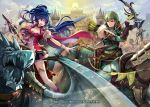 1girl 2boys armor arrow bow_(weapon) cape commentary_request company_connection copyright_name dragon fire_emblem fire_emblem:_the_sacred_stones fire_emblem_cipher holding holding_bow_(weapon) holding_weapon horse horseback_riding innes_(fire_emblem) konfuzikokon male_focus multiple_boys official_art pegasus polearm quiver riding spear tana_(fire_emblem) thigh-highs weapon wings wyvern zettai_ryouiki
