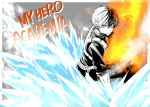 1boy bangs boku_no_hero_academia closed_mouth copyright_name fire grey_background hair_between_eyes highres ice jacket looking_at_viewer male_focus multicolored_hair natsupa pants shorts smoke solo todoroki_shouto two-tone_background two-tone_hair v-shaped_eyebrows white_background