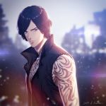 1boy arm_tattoo bare_shoulders black_hair blue_eyes devil_may_cry devil_may_cry_5 full_body_tattoo high_collar jewelry kuren male_focus necklace solo tattoo v_(devil_may_cry) vest wavy_hair