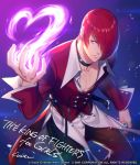 1boy choker fire hair_over_one_eye heart highres kuren male_focus purple_fire pyrokinesis red_eyes redhead solo the_king_of_fighters unbuckled_belt yagami_iori