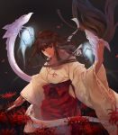 1girl black_hair bow_(weapon) breasts brown_eyes cowboy_shot flower hakama highres inuyasha japanese_clothes kikyou_(inuyasha) lips long_hair looking_at_viewer medium_breasts miko my-cooma petals red_hakama shinidamachuu solo spider_lily weapon