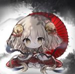 1girl :o bangs bell braid brown_eyes brown_hair character_request chibi commentary_request cottontailtokki dress full_body hair_bell hair_between_eyes hair_ornament highres holding holding_umbrella jingle_bell kneehighs long_sleeves oriental_umbrella parted_lips red_dress red_umbrella shingeki_no_bahamut sitting solo umbrella wariza white_legwear wide_sleeves