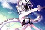 1girl animal_ear_fluff animal_ears arknights arm_up bandeau bangs bare_arms bare_shoulders beret black_hair blue_eyes checkered cliffheart_(arknights) clouds dress gloves gradient_hair grey_gloves hair_between_eyes hat highres looking_at_viewer multicolored_hair night night_sky outdoors sheya short_hair silver_hair sky solo stomach strapless tail tiger_ears tiger_tail tubetop upper_body white_dress white_headwear
