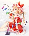 1girl apple ascot blonde_hair bow closed_mouth crystal expressionless feet_out_of_frame flandre_scarlet food frills from_side fruit grey_background hand_up hat hat_bow holding holding_food holding_fruit laevatein looking_away medium_hair mimi_(mimi_puru) mob_cap petticoat pointy_ears profile puffy_short_sleeves puffy_sleeves red_bow red_eyes red_nails red_skirt red_vest short_sleeves sitting skirt skirt_set solo touhou vest water_drop wings wrist_cuffs yellow_neckwear