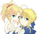 2girls ahoge artoria_pendragon_(all) bare_shoulders blonde_hair blue_dress blue_ribbon braid breasts commentary_request dress eyebrows_visible_through_hair face fang fate/grand_order fate_(series) gedou_(ge_ge_gedou) green_eyes hair_between_eyes hair_ornament hair_ribbon hair_scrunchie looking_at_viewer mordred_(fate) mordred_(fate)_(all) multiple_girls puffy_sleeves red_scrunchie ribbon saber scrunchie simple_background smile w white_background