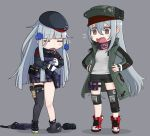 =_= bangs beret blue_hair blunt_bangs breasts closed_eyes clothes_writing collar facial_mark full_body g11_(girls_frontline) girls_frontline gloves grey_background hands_on_hips hat hk416_(girls_frontline) jacket knee_pads long_hair long_sleeves open_mouth personality_switch pleated_skirt popped_collar ran_system red_scarf saliva scarf scarf_on_head shadow shoes shorts silver_hair simple_background skirt sleepy standing teardrop thigh-highs white_gloves