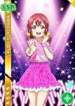 blush character_name dress kurosawa_ruby love_live!_school_idol_festival love_live!_sunshine!! pink_eyes pink_hair short_hair skirt