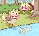 3girls all_fours animal_ear_fluff animal_ears animalization bangs bell bell_collar bird blonde_hair blush brown_collar closed_eyes collar commentary_request day duck eyebrows_visible_through_hair fish fox_ears fox_girl fox_tail grass green_shirt hair_between_eyes hair_bun hair_ornament highres jingle_bell kemomimi-chan_(naga_u) long_sleeves multiple_girls naga_u on_grass orange_neckwear original outdoors pleated_skirt purple_skirt red_eyes ribbon-trimmed_legwear ribbon_trim river sailor_collar shirt sidelocks skirt sleeves_past_fingers sleeves_past_wrists spring_onion tail thigh-highs tree v-shaped_eyebrows water white_legwear white_sailor_collar