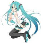 1girl aqua_eyes aqua_hair aqua_neckwear bare_shoulders belt black_legwear black_skirt blue_hair bow bowtie breasts commentary finger_to_chin floating from_side full_body glasses gradient_hair hair_ornament hand_on_own_ass hatsune_miku head_tilt holding_skirt index_finger_raised knees_up light_blush long_hair looking_at_viewer looking_to_the_side multicolored_hair open_mouth pinky_out red-framed_eyewear semi-rimless_eyewear shirt shoulder_tattoo simple_background skirt sleeveless sleeveless_shirt small_breasts smile solo soukun_s tattoo thigh-highs twintails very_long_hair vocaloid vocaloid_(lat-type_ver) white_background white_shirt wrist_cuffs