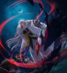 1boy armor crescent crescent_moon demon dutch_angle facial_mark fingernails forehead_mark full_body fur green_skin highres inuyasha jaken japanese_clothes lips long_hair looking_at_viewer male_focus moon night pointy_ears ryo_(ryoxkj) sesshoumaru silver_hair sky staff star_(sky) starry_sky surprised sword very_long_hair weapon yellow_eyes