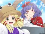 2girls :d bangs blonde_hair blue_sky blush brown_headwear clouds commentary_request day eyebrows_visible_through_hair hair_ornament hair_ribbon hand_up head_rest leaf_hair_ornament long_sleeves looking_at_viewer mirror moriya_suwako mudix2 multiple_girls open_mouth outdoors outstretched_arms puffy_short_sleeves puffy_sleeves purple_hair purple_vest red_eyes red_ribbon red_shirt ribbon rope shide shimenawa shirt short_hair short_sleeves sidelocks sky smile touhou upper_body v-shaped_eyebrows vest white_shirt wide_sleeves yasaka_kanako yellow_eyes