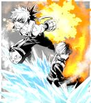 2boys bakugou_katsuki bangs bare_shoulders boku_no_hero_academia clenched_teeth closed_mouth collarbone explosion fire gloves grey_background hair_between_eyes highres ice jacket male_focus multicolored_hair multiple_boys natsupa pants short_sleeves smoke tank_top teeth todoroki_shouto two-tone_background two-tone_hair v-shaped_eyebrows white_background