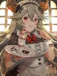 1girl :p alternate_costume apron bow bowtie cookie draph enmaided food food_on_finger granblue_fantasy grey_hair gyoju_(only_arme_nim) highres horns long_hair looking_at_viewer maid maid_apron maid_dress maid_headdress parfait red_eyes short_sleeves solo thalatha_(granblue_fantasy) tongue tongue_out tray wrist_cuffs