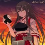 15citron 1girl akagi_(kantai_collection) apron brown_eyes brown_hair dusk eating food food_on_face hair_between_eyes hakama_skirt holding holding_food japanese_clothes kantai_collection long_hair muneate onigiri red_skirt ribbon-trimmed_sleeves ribbon_trim skirt solo straight_hair tasuki twitter_username upper_body wavy_mouth