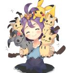 1girl :3 ^_^ acerola_(pokemon) bangs blue_dress blush closed_eyes closed_mouth collarbone commentary_request dress elite_four facing_viewer gen_1_pokemon gen_7_pokemon hair_ornament head_tilt highres holding mimikyu on_head pikachu pokemon pokemon_(creature) purple_hair ranf short_hair simple_background trial_captain white_background