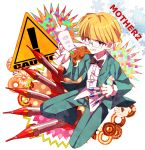 1boy blonde_hair blue_eyes copyright_name english_text glasses grin gun jeff_andonuts looking_at_viewer male_focus mother_(game) mother_2 myumyu._baton-nashi rocket sign smile solo warning_sign weapon