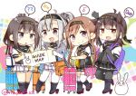 4girls :d ?? ahoge akizuki_(kantai_collection) black_bodysuit black_footwear black_hair black_neckwear black_sailor_collar black_skirt blue_eyes bodysuit braid brown_hair cape chibi clothes_writing corset eyebrows_visible_through_hair full_body grey_cape grey_eyes hachimaki hair_between_eyes hair_flaps hair_ornament hatsuzuki_(kantai_collection) headband holding_map kantai_collection knmnw leg_up light_brown_hair long_hair looking_at_viewer machinery miniskirt multiple_girls musical_note neckerchief one_side_up open_mouth pleated_skirt ponytail rabbit rudder_footwear sailor_collar school_uniform serafuku short_hair silver_hair skirt smile suzutsuki_(kantai_collection) teruzuki_(kantai_collection) twin_braids white_bodysuit white_skirt yellow_eyes yellow_neckwear