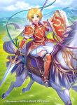 1girl amelia_(fire_emblem) animal arm_guards armor armored_boots bangs blonde_hair blue_sky blush boots cape clouds cloudy_sky commentary_request company_connection copyright_name day eyebrows_visible_through_hair fingerless_gloves fire_emblem fire_emblem:_the_sacred_stones fire_emblem_cipher frills gloves green_eyes highres horse horseback_riding kh_kyo_hibiki looking_at_viewer official_art open_mouth outdoors polearm riding shield short_hair shoulder_armor skirt sky smile spear weapon white_skirt