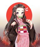 1girl artist_name bamboo bit_gag black_hair brown_hair commentary_request fingernails forehead gag hair_ribbon highres holding japanese_clothes kamado_nezuko kimetsu_no_yaiba kimono lazoomaiga long_hair long_sleeves looking_at_viewer mouth_hold multicolored_hair pink_eyes pink_kimono pink_ribbon red_nails ribbon solo two-tone_hair very_long_hair