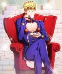 1boy blonde_hair braid bug cleavage_cutout closed_eyes couch crossed_legs cup drinking giorno_giovanna insect jojo_no_kimyou_na_bouken kuren ladybug male_focus sitting solo sparkle teacup vento_aureo