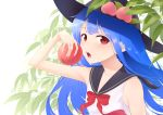 1girl alternate_costume arm_up armpit_crease armpit_peek bangs bare_arms black_headwear blue_hair blue_sailor_collar blurry commentary_request depth_of_field eyebrows_visible_through_hair food fruit hat highres hinanawi_tenshi holding holding_food holding_fruit kanpa_(campagne_9) leaf leaf_background long_hair looking_at_viewer nail_polish neckerchief open_mouth peach pink_nails red_eyes red_neckwear sailor_collar sailor_shirt shirt sleeveless sleeveless_shirt solo standing team_shanghai_alice touhou upper_body upper_teeth very_long_hair white_background