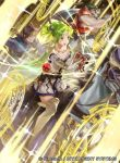 1girl 2boys bangs book boots cape commentary_request company_connection copyright_name fire_emblem fire_emblem:_the_sacred_stones fire_emblem_cipher gloves green_eyes green_hair horse horseback_riding jewelry l'arachel_(fire_emblem) long_hair mayo_(becky2006) multiple_boys official_art open_mouth riding skirt smile thigh-highs thigh_boots tied_hair white_footwear zettai_ryouiki