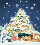 androgynous annoying_dog ball bear bow box chibi christmas_ornaments christmas_tree creature decorating dog facing_away frisk_(undertale) gift gift_box glint hat hitofutarai long_sleeves monster_kid_(undertale) night night_sky outdoors pine_tree polar_bear ribbon santa_hat scarf short_hair shorts sky snow snowflakes snowing socks standing standing_on_one_leg standing_on_person striped tree undertale yellow_bow