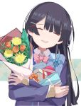 1girl bangs black_hair bouquet bow bowtie braid closed_eyes flower gift hair_ornament hairclip happy long_hair long_sleeves moonscraper nijisanji no_nose open_mouth ribbon school_uniform smile tsukino_mito virtual_youtuber