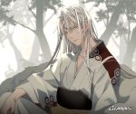1boy armor artist_name crescent facial_mark forehead_mark fur gearous inuyasha japanese_clothes lips long_hair looking_at_viewer male_focus pointy_ears sesshoumaru silver_hair sitting solo upper_body yellow_eyes