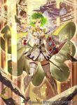 1girl armor bangs boots breastplate cape commentary_request company_connection copyright_name fire_emblem fire_emblem:_the_sacred_stones fire_emblem_cipher gloves green_eyes green_hair jewelry l'arachel_(fire_emblem) long_hair mayo_(becky2006) official_art skirt thigh-highs thigh_boots tied_hair white_footwear zettai_ryouiki