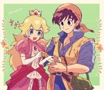 1boy 1girl adult animal bandana bird_studio black_hair blonde_hair blue_eyes blush brown_eyes brown_hair crown dragon_quest dragon_quest_viii dress earrings eight_(dragon_quest) elbow_gloves gloves hair_ornament hero_(dq8) highres human jewelry kiriya_(552260) long_hair mario_(series) mouse nintendo nintendo_ead open_mouth pink_dress princess princess_peach shirt simple_background smile sora_(company) square_enix super_mario_bros. super_smash_bros. teenage toei_animation