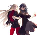 2girls backlighting black_dress black_legwear black_shorts bubble_tea byleth_(fire_emblem) byleth_(fire_emblem)_(female) casual cup disposable_cup dress edelgard_von_hresvelg fajyobore323 fire_emblem fire_emblem:_three_houses green_hair hair_ribbon hairband highres holding_hands jacket leather leather_jacket legwear_under_shorts light_blush long_hair looking_at_another looking_at_viewer medium_hair multiple_girls open_mouth pantyhose red_legwear red_shirt ribbon shirt shorts silver_hair simple_background smile standing turtleneck very_long_hair yuri