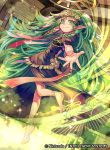 1girl back barefoot braid fire_emblem fire_emblem:_three_houses fire_emblem_cipher green_eyes green_hair long_hair official_art pointy_ears solo sothis_(fire_emblem) sparkle tiara tvzyon twintails