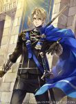 1boy blonde_hair blue_eyes cape dimitri_alexandre_bladud epaulettes fire_emblem fire_emblem:_three_houses fire_emblem_cipher garreg_mach_monastery_uniform gloves grass hagiya_kaoru official_art polearm solo spear sword teeth weapon