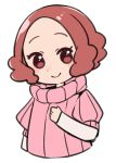 1girl brown_eyes brown_hair chibi closed_mouth do_m_kaeru hand_on_own_chest long_sleeves looking_at_viewer okumura_haru persona persona_5 pink_sweater ribbed_sweater short_hair short_over_long_sleeves short_sleeves simple_background sketch smile solo sweater upper_body white_background
