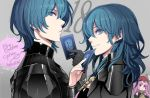 1boy 2girls armor bangs black_armor black_gloves blue_eyes blue_hair byleth_(fire_emblem) byleth_(fire_emblem)_(female) byleth_(fire_emblem)_(male) card fire_emblem fire_emblem:_three_houses fire_emblem_cipher gloves hair_between_eyes long_hair looking_at_viewer multiple_girls official_art parted_lips pink_hair red_headwear short_hair simple_background smile tagme toyo_sao